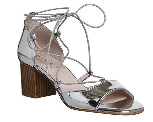Unbekannt - Zapatos de vestir para mujer Silberfarben verspiegelt