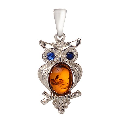 HolidayGiftShops Sterling Silver and Baltic Amber Pendant Owl