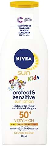 Nivea Kids Protect and Sensitive Sun Lotion with SPF 50+, Very High - 200 ml