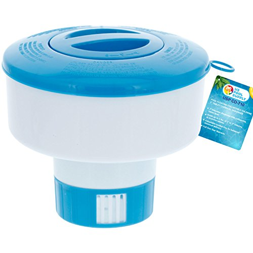 U.S. Pool Supply Pool Floating Collapsible Chlorine 3' Tablet Chemical Dispenser, 7' Diameter, Collapsible