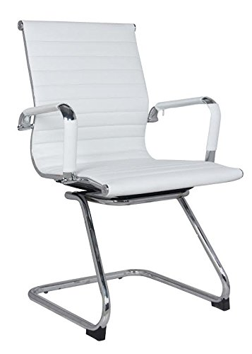 Classic Replica Visitors Chair in White PU Leather. Chrome arms with Protective arm Sleeves with Zip Available. Suitable for Office and Home   Set of 2 Chairs by US Office Elements (Image #4)