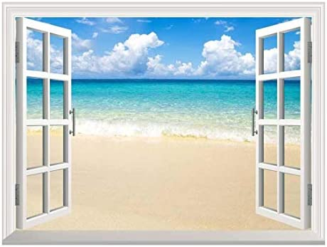 Removable Wall Sticker/Wall Mural - Beach and Tropical Sea | Creative Window View Wall Decor - 36