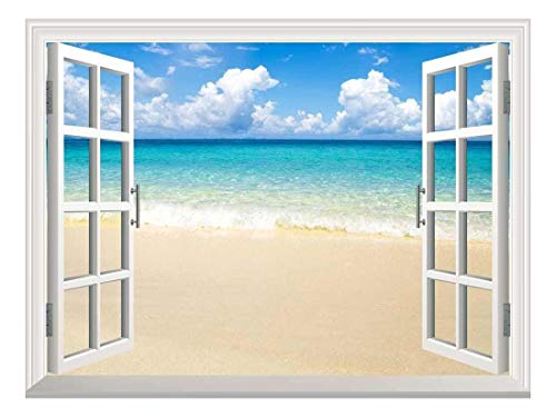 Removable Wall Sticker Wall Mural Beach and Tropical Sea Creative Window View Wall Decor