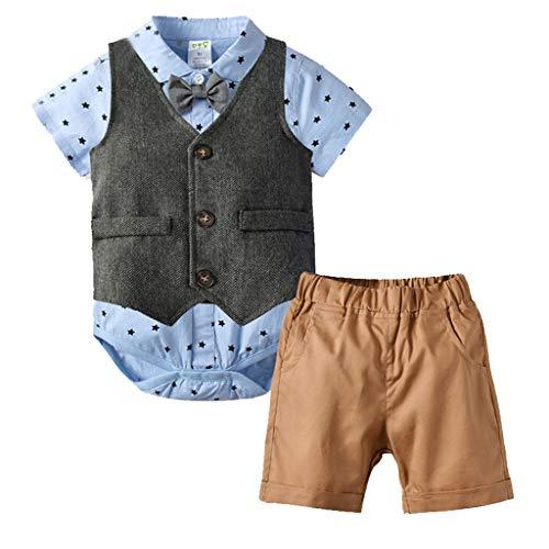 Benficial Toddler Baby Boy Kids Gentleman Stars Bow Tops T-Shirt Short Pants Outfits Set Light Blue