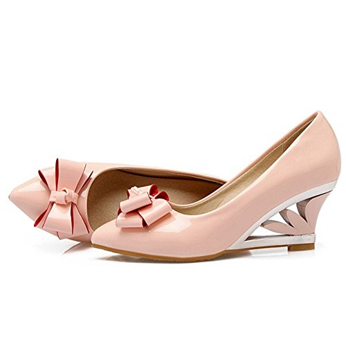 Moda Tacon Zapatos Bow Femmes Zanpa pink ZqvSRnn