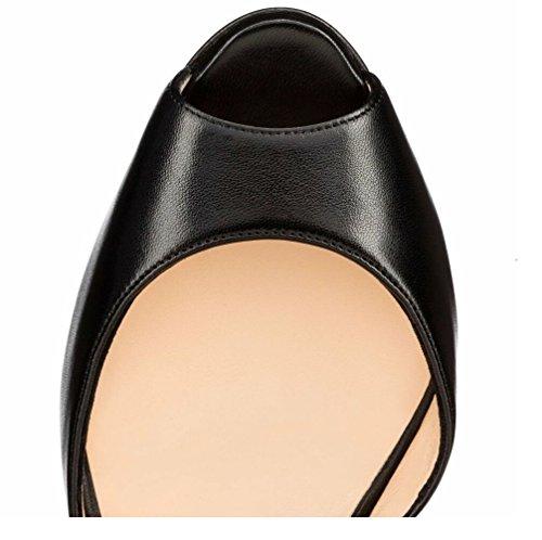 Eldof Womens Tacco Alto Peep Toe 12 Centimetri Alla Caviglia Fibbia Decorazione Della Nappa Sexy Sandle Scarpe Da Sera Pary Nere