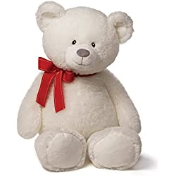 Gund Valentines Valerie Large White Bear Plush with Red Bow