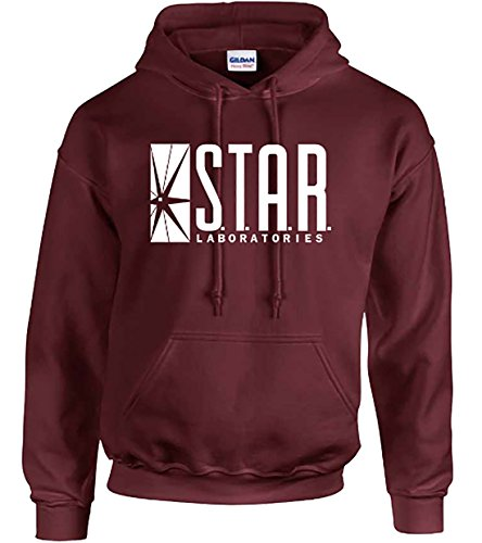 Star Laboratories Star Labs Hoodie Sweatshirt Sweater S.T.A.R Hooded Pullover - Premium Quality (XL, Maroon) ()
