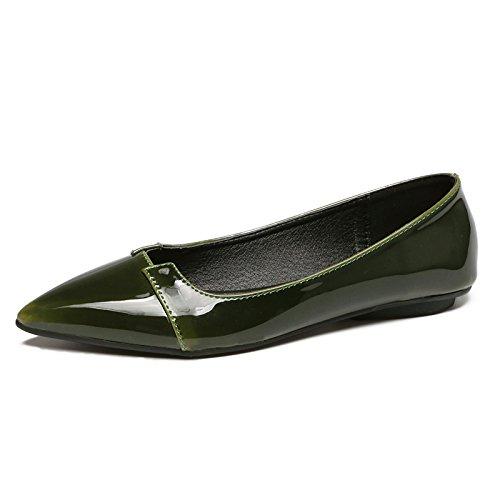 Xue Qiqi Punta Plana luz de Calzado de Cuero pintadas de Color Plano con Solo Zapatos Mujer Calzado Casual 4 El verde