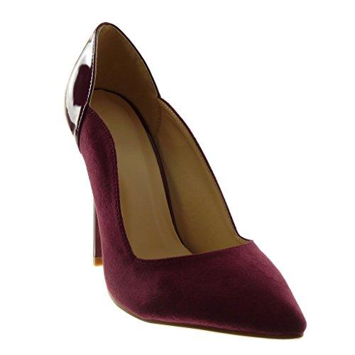 Femme Verni cm Chaussure Talon 11 Escarpin Stiletto Haut Aiguille Mode Bordeaux Angkorly BX7xqvwYIq