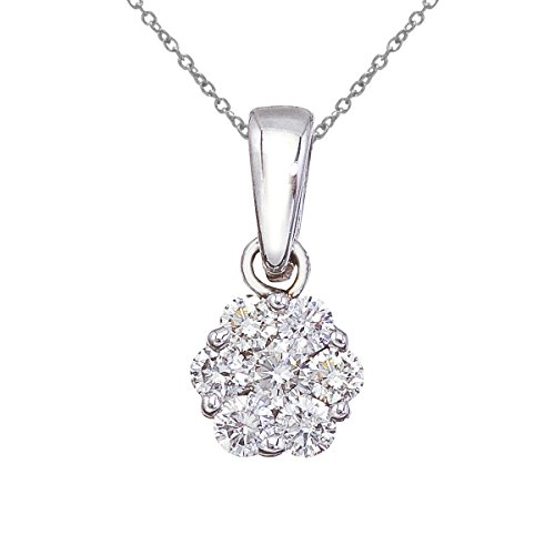 "0.50 Carat (ctw) 14k White Gold Round Diamond Women's Flower Cluster Pendant with 18"" Chain Necklace"