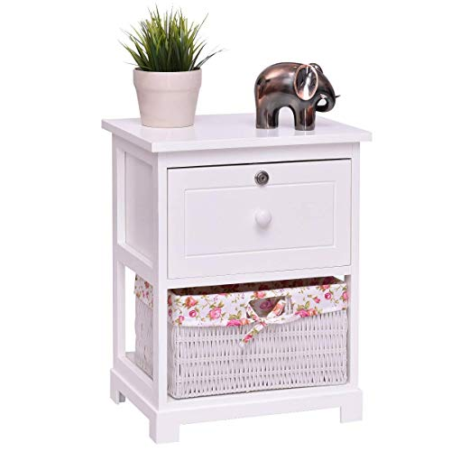 Giantex 2 Tier Wooden Nightstand W/ 1 Drawer and 1 Basket Bedside Sofa Table Organizer for Bedroom Living Room Home Furniture White End Table (1)