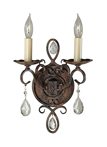 Murray Feiss WB1227MBZ, Chateau Sconce, 2 Light, 120 Watts, Mocha (Chateau Crystal Sconce)