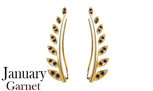 ated Garnet Ear Crawler Cuff Earrings 14k Yellow Gold Over Sterling Silver Climber Studs Olive Leaf ()