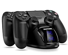 PS4 Controller Charger, PS4 Charging Dock, Dual Charger with Charging Status Display Screen for Playstation 4/PS4 Slim/PS4 Pro Dualshock 4 Wireless Controller