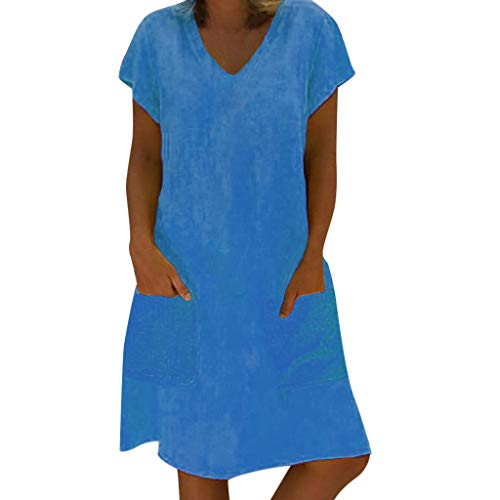 Velvet Linens Royal - NEARTIME Women Summer Dress Ladies Plus Size Dress T-Shirt Cotton and Linen Dress Casual Short Sleeve Midi Dress