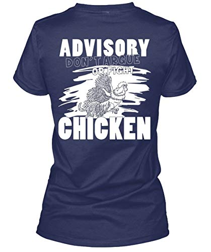 I Love Farmer Women's Tee, Advisory Don't Argue Or Fight Chicken T Shirt-WomenTee (XL, Navy)