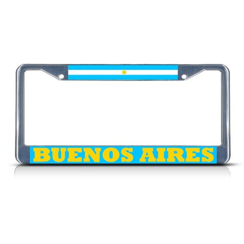 Metal License Plate Frame Solid Insert Argentina Buenos Aires Car Auto Tag Holder - Chrome 2 Holes, Set of 2 (Best Of Buenos Aires)