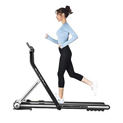 RHYTHM FUN Treadmill Folding Running Treadmill Under Desk Walking Pad Treadmill with Foldable Handtrail Wide Tread Belt Super Slim Mini Quiet Home Treadmill with Smart Remote Control and Workout App