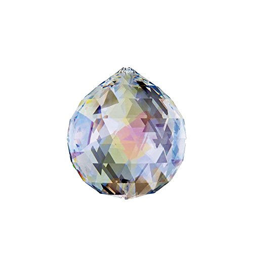 Hongville Fancy Crystal Ball Prisms Pendant Feng Shui Sun Catcher for Holiday Decorating Hanging, 40mm, Aurora Borealis -
