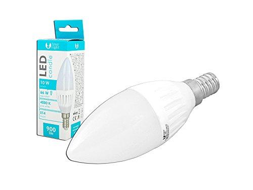 Forever light - Bombilla LED de 10 W de vela con luz neutra E14, 4000 K: Amazon.es: Iluminación
