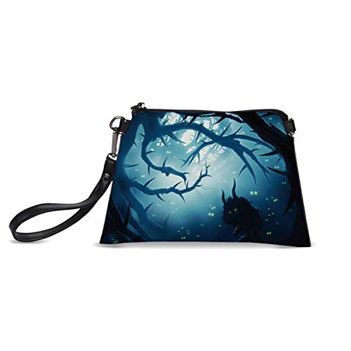 Mystic House Decor Simple HandBag,Animal with Burning Eyes in Dark Forest at Night Horror Halloween Illustration for Women,C23.5H15 for $<!--$29.49-->