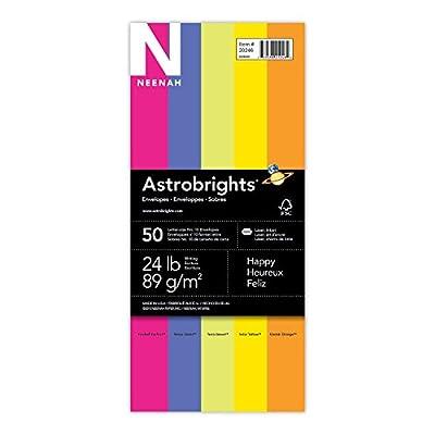 "Wausau Astrobrights Color #10 Envelopes, 4.125"" x 9.5"", 24 lb/89 GSM, ""Happy"" 5-Color Assortment, 50 Envelopes (20246)"