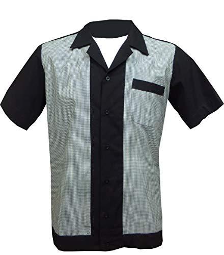 - 1950s/1960s Rockabilly,Bowling, Retro, Vintage Men's Shirt (X-Large) Black, White