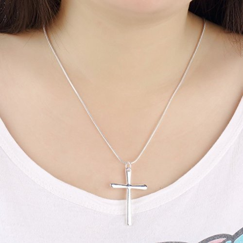 WKShop Fashion New 925 Sterling Silver Charms Cross Pendant Beautiful Women Necklace by WKShop (Image #1)