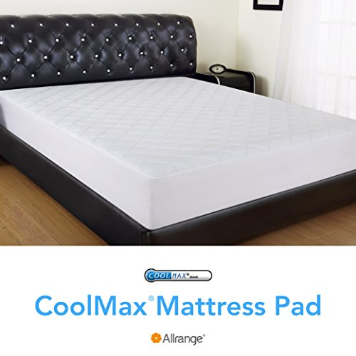 Allrange CoolMax Fiber Hypoallergenic Quilted Mattress Pad, CoolMax and Cotton Fabric Cover, Snug Fit Stretchy to 18