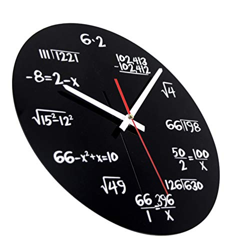 Digital Wall Clock Oval Modern Simple Creative Mathematics Blackboard Clock for Gym Bar Kitchen Living Room - Black 62