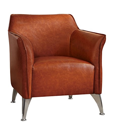 Bicast Leather Arm Dining Chairs - Homelegance Basseri PU Leather Accent Chair, Brown