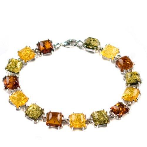 - Multicolor Amber Sterling Silver Prong Bracelet 7.5