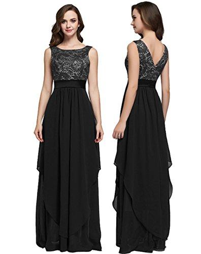 demoiselle de de longue de d'honneur LemonGirl robe soire robes Black les nq0I48