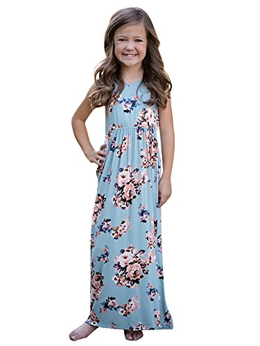 Baby Girls Dresses Toddler Floral Short sleeve Casual Summer Swing Long Maxi Dress with Pockets
