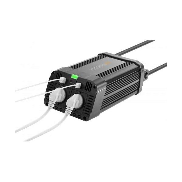 4177lpS%2BsEL Technaxx KFZ Wechselrichter mit LC-Display 12V auf 230V - Auto Inverter mit 2X Schuko-Stecker und 2X USB-Port - Power…