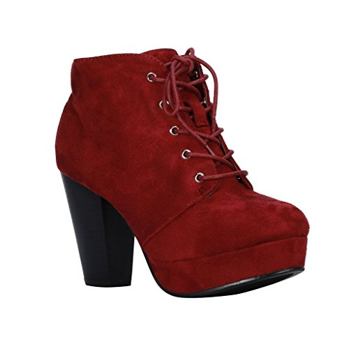 (Forever Camille-86 Women's Comfort Stacked Chunky Heel Lace Up Ankle Booties (9 M US, Burgundy)