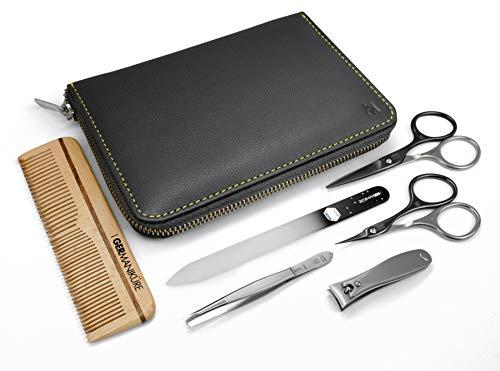 GERmanikure 6pc FINOX stainless steel mens grooming kit in zippered gray case