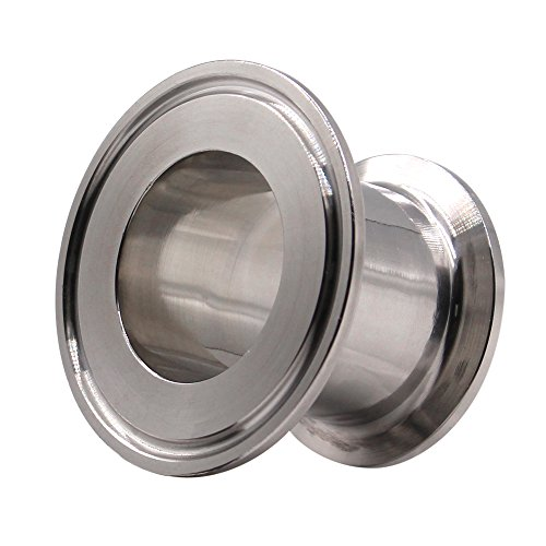 Dernord Sanitary Concentric Reducer Tri Clamp Clover Stainless Steel 304 Sanitary Fitting End Cap Reducer (Tri Clamp Size: 2 inch x 1.5 inch) (Clamp Sanitary)
