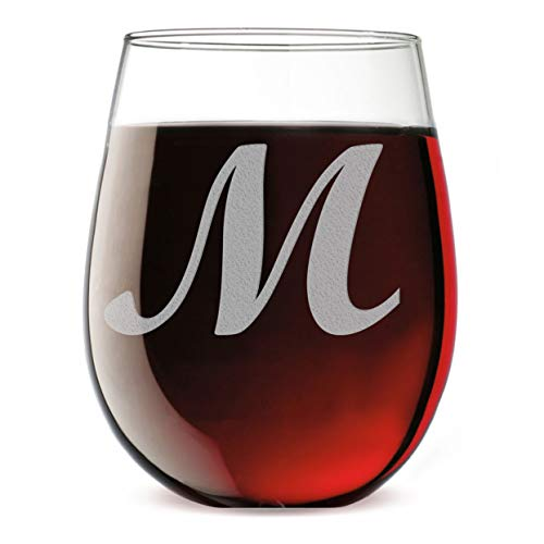 Etched Monogram 17oz Stemless Wine Glass (Letter ()