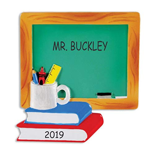 DIBSIES Personalization Station Personalized Chalkboard and Books Teacher Christmas Ornament