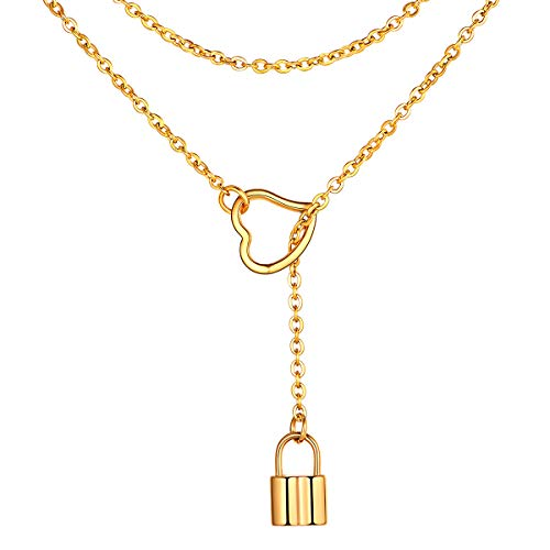 Lock Pendant Simple 18K Gold Plated Necklaces Statement Long Chain Punk Multilayer Choker Necklace Stainless Steel Fashion Jewelry Influx Women Girls Personalized Gift Lariat Y Necklace for - Pendant Chain Long Necklace