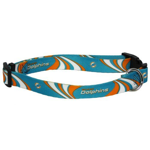 Miami Dolphins Pet Dog Adjustable Nylon Collar NFL Licensed New Logo (Small)
