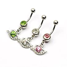 Rhinestone Eyes Style Piercing 316l Stainless Steel 1pc Body Piercing Nombril Belly Navel Ring Piercing