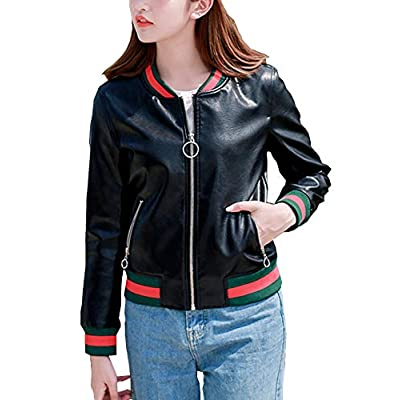 D.B.M Women's Short Thin Contrast Color Zipper Pocket Baseball Uniform Jacket: Clothing