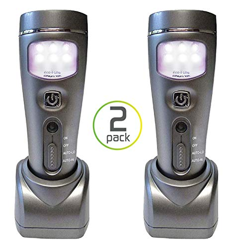 Capstone Lighting 4-in-1 Eco-I-Lite LED Emergency Flashlights, Night Light, Power Failure and Worklight, 2 Pack - Ideal Survival Gear for Your Emergency Kit, Perfect for Power Outages and Hurricanes