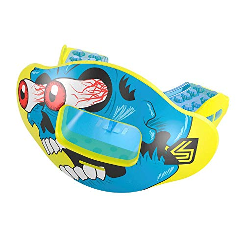 Shock Doctor Max Airflow 2.0 Lip Guard Conv Yellow/Blue Comic Blue Face - Guard Football Face Youth