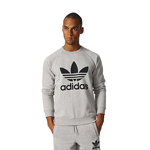 adidas Originals Men's Trefoil Crew Sweatshirt, Medium Grey Heather/Black, Medium