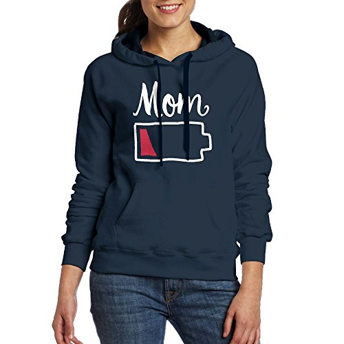 Women Hoodie Sweatshirt With Pocket - Mom Battery Low