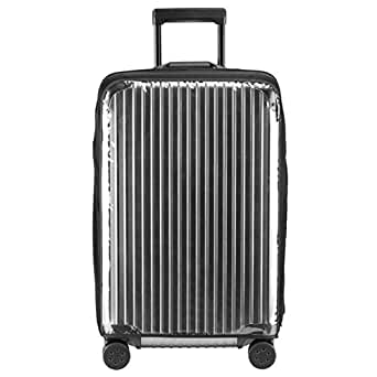 Janjunsi Clear PVC Suitcase Cover (Cover ONLY) Fits 20 Inches Size S Black Luggage Cover Protector Against Water Dirt Scratch